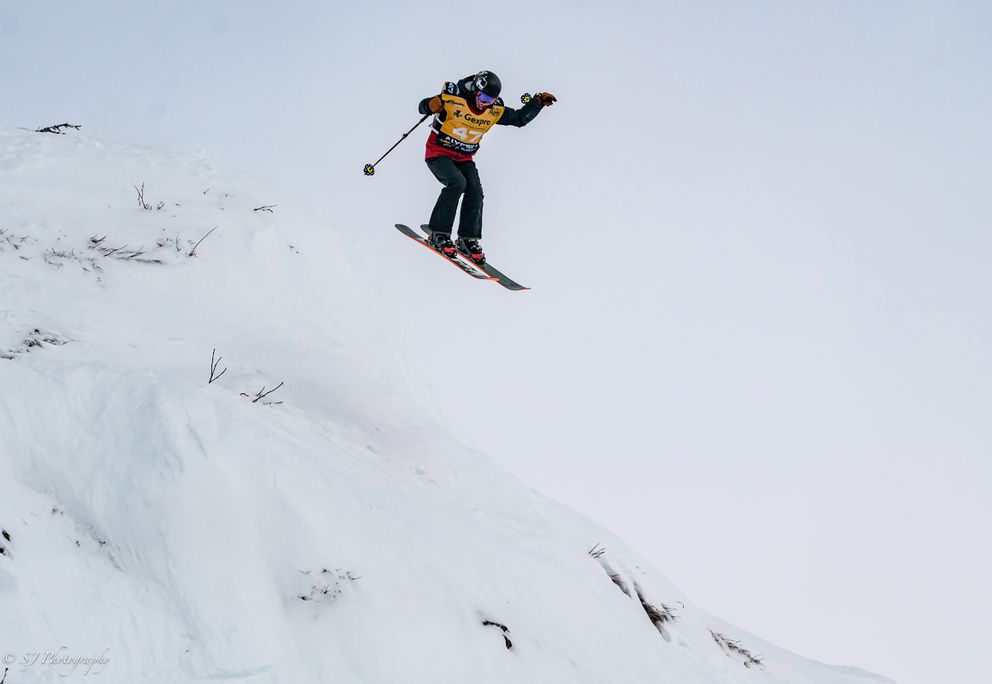 A skier flies during Friday's competition. (Photo by Sam Kikuchi)