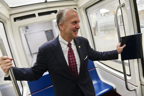 Sen. Dan Sullivan rides the subway that connects the U.S. Capitol with Senate office buildings in Washington, D.C., on June 19, 2019. (Marc Lester / ADN)