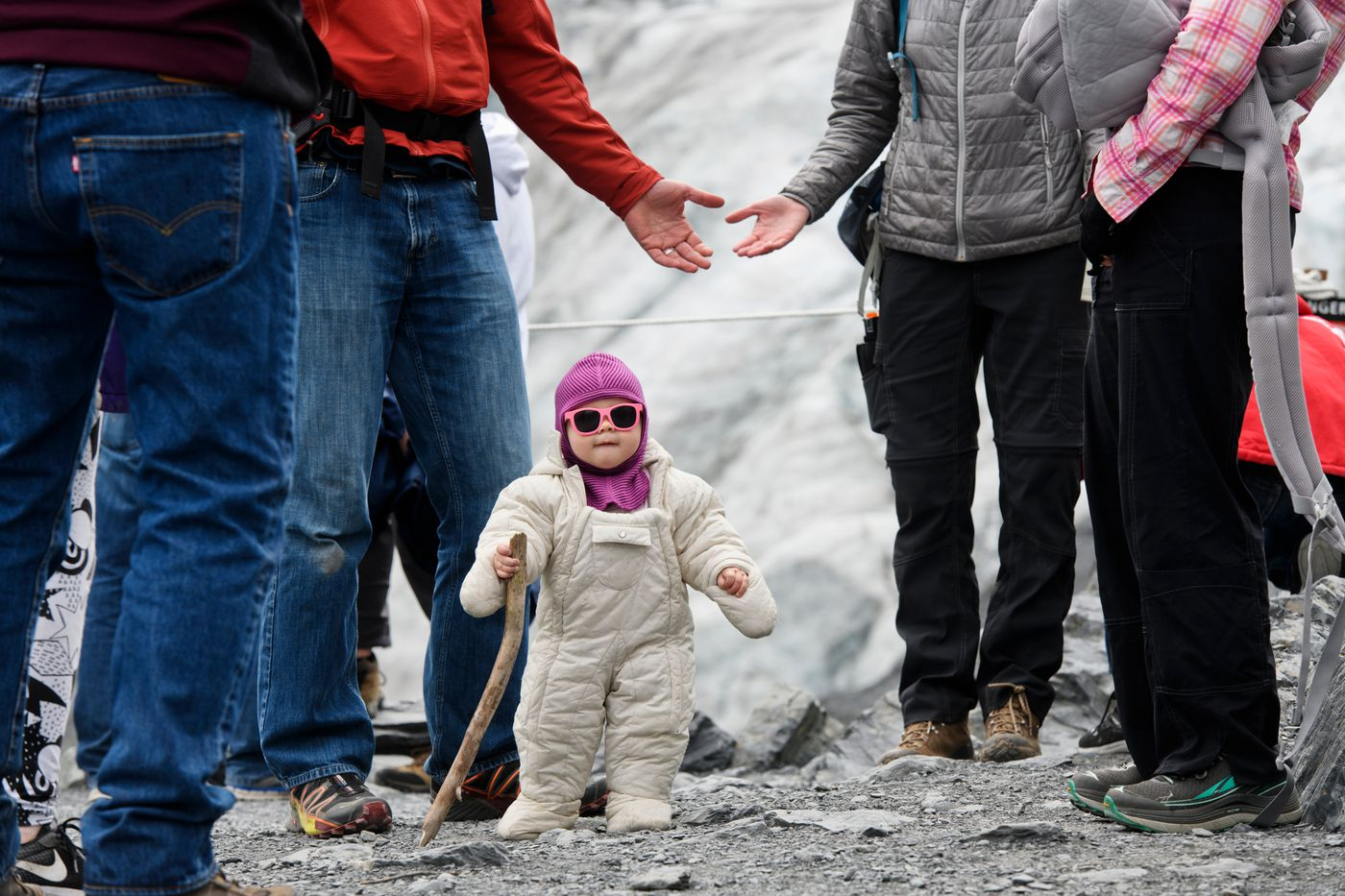 One-year-old Clara Andrews stands for what her family said was the first time longer than a second or two while they were visiting an overlook of Exit Glacier on June 23, 2018. (Marc Lester / ADN)