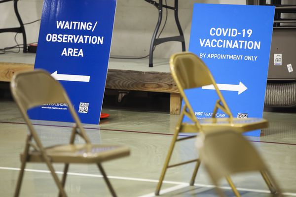 The COVID-19 vaccine clinic set up at Shiloh Baptist Church in Anchorage on Thursday, April 1, 2021. (Emily Mesner / ADN)