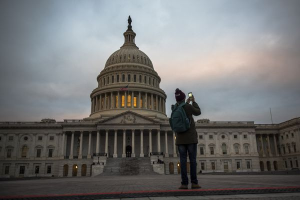 FILE-- Dawn at the U.S. Capitol in Washington, Jan. 19, 2017. After seven years of fitful declines, the federal budget deficit is projected to begin swelling again this decade, adding $8.6 trillion to the federal debt over the next 10 years, according to projections from the nonpartisan Congressional Budget Office that reveal the strain that the government's debt will have on the economy as President Donald Trump embarks on plans to slash taxes and ramp up spending. (Hilary Swift/The New York Times)