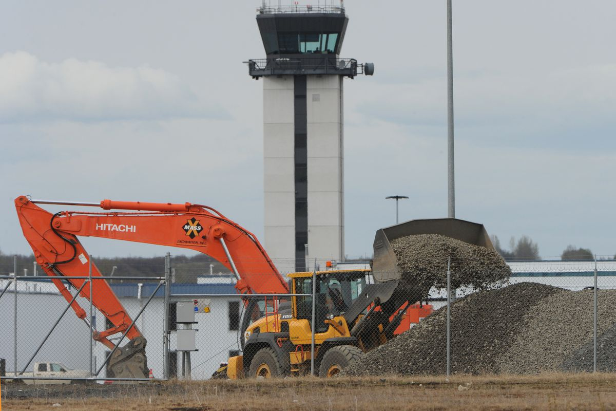 Construction work continues on the Quebec Apron at Merrill Field Airport on Tuesday, May 7, 2019. (Bill Roth / ADN)