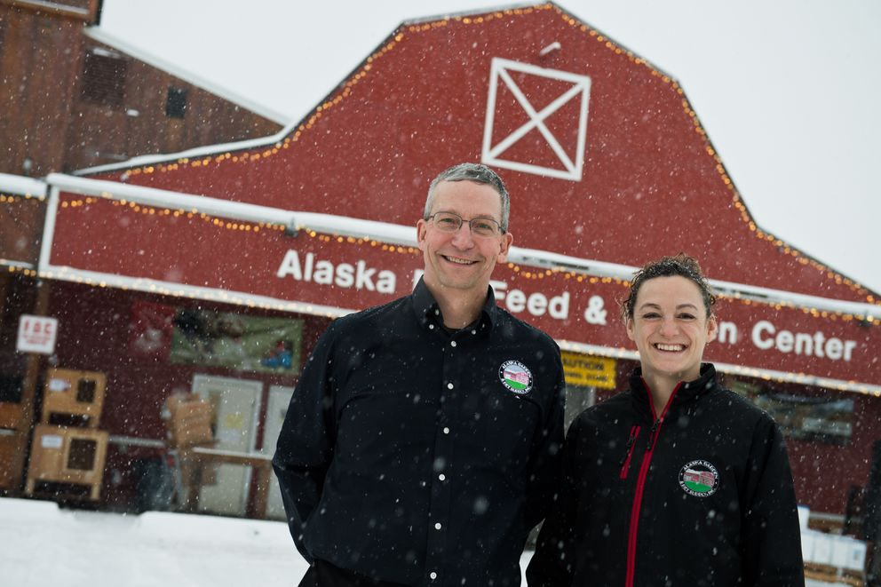 Joel Klessens is president and Kimberly McCourtney is vice president of Alaska Mill and Feed. (Marc Lester / ADN)