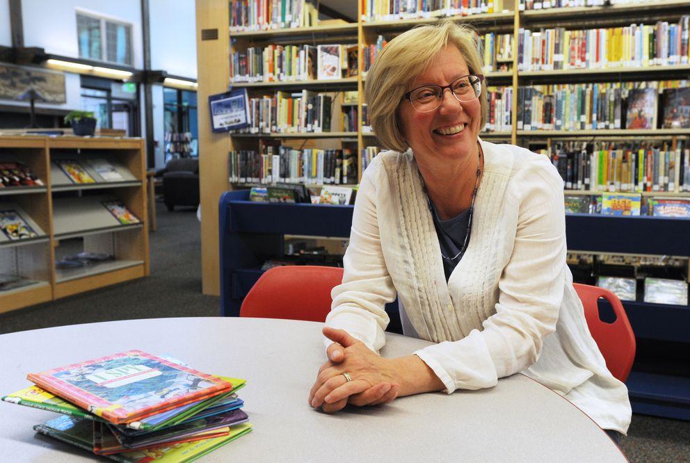 Librarian Nancy Bertels at the Sutton Public Library. (Bill Roth / ADN)