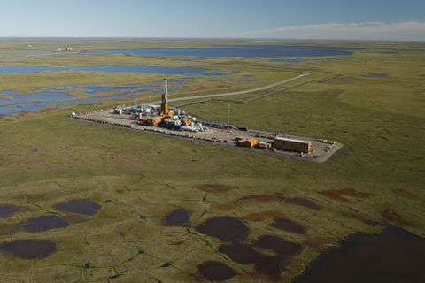 "Doyon Rig 19 at ConocoPhillips CD5 field on Alaska's North Slope, pictured in 2016. ConocoPhillips said the company used the rig to set a North American land-based drilling record with a four-mile ""horizontal lateral,"" an extension branching off a vertical well. (Judy Patrick / ConocoPhillips)"