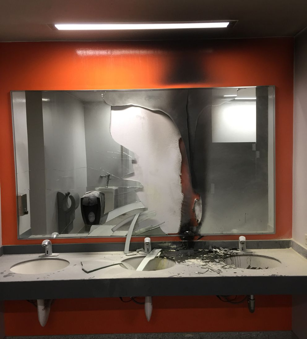 The aftermath of a fire in an Anchorage transit center bathroom (Andrew Halcro)