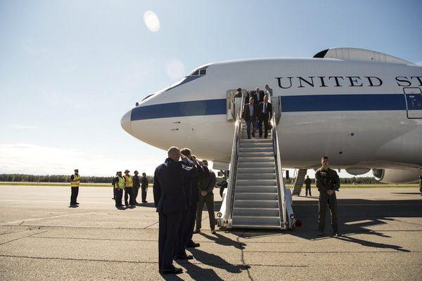 Defense Secretary Jim Mattis arrives at Eielson Air Force Base in Interior Alaska on Monday morning, June 25, 2018. He will tour Fort Greely before continuing on to Asia. (Eielson Air Force Base)