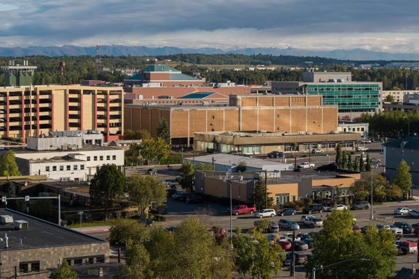 The 5th Avenue Mall, seen behind the former Nordstrom department store and a parking garage for JC Penney, in downtown Anchorage on Thursday, Sept. 10, 2020. (Loren Holmes / ADN)