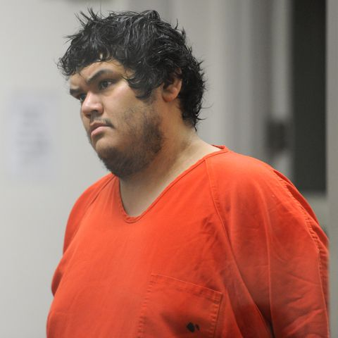 Clayton Charlie was arraigned in the Anchorage jail court on Monday, Nov. 19, 2018, on a first-degree murder charge among other charges in the death of Alaska Zoo head gardener Michael Greco. (Bill Roth / ADN)