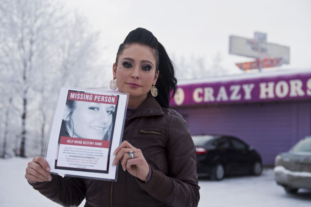 Yvette Blezinski posted pictures and searched for her friend Destiny Pittman in Anchorage locations, including Crazy Horse, on January 7, 2019. (Marc Lester / ADN)