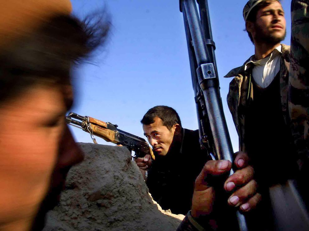 Northern Alliance fighters in Chaghatay, Afghanistan, in November 2001. (Washington Post photo by Lois Raimondo)