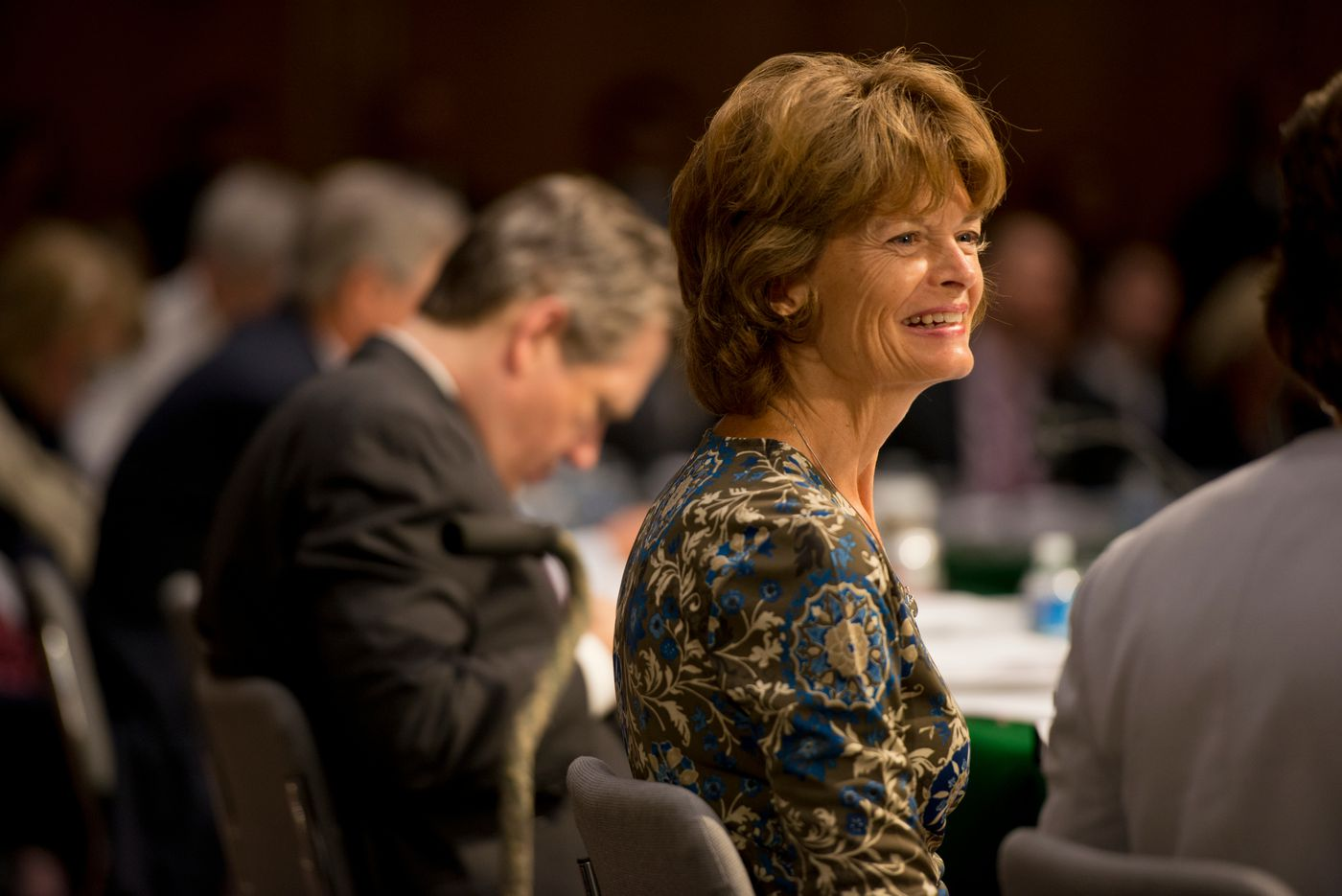 Sen. Lisa Murkowski participates in a Senate Appropriations Committee meeting in the Dirksen Senate office building on Thursday, June 25, 2015. (Marc Lester / Alaska Dispatch News )