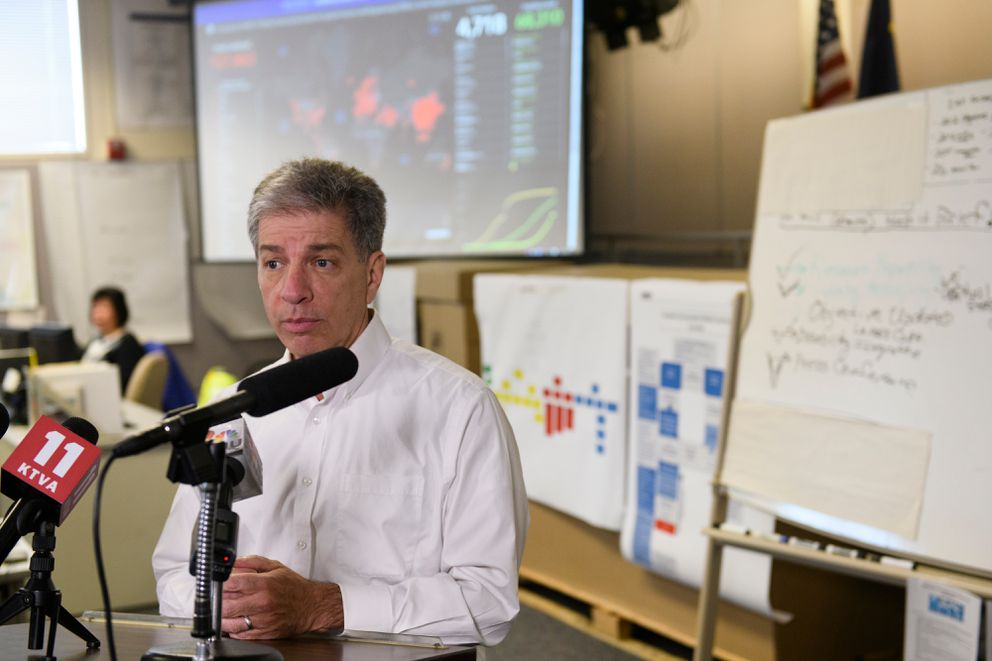 Anchorage Mayor Ethan Berkowitz speaks with reporters at the Anchorage Emergency Operations Center. City and school district officials held a press conference at the Anchorage Emergency Operations Center regarding measures in response to coronavirus on March 12, 2020. (Marc Lester / ADN)
