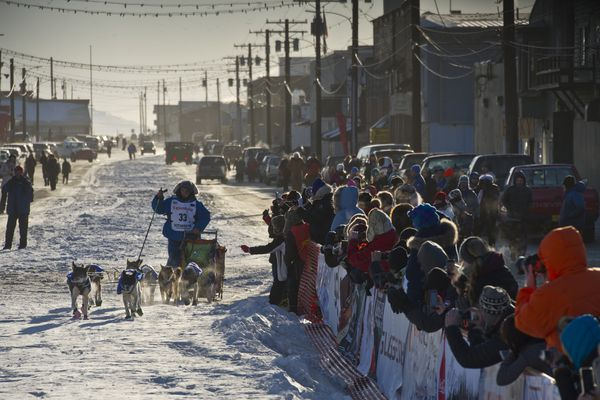 Wade Marrs closes in on the finish line on Front Street in Nome. Marrs beat Pete Kaiser by about 3 minutes to take fourth place in the Iditarod Trail Sled Dog Race on March 15, 2016, in Nome