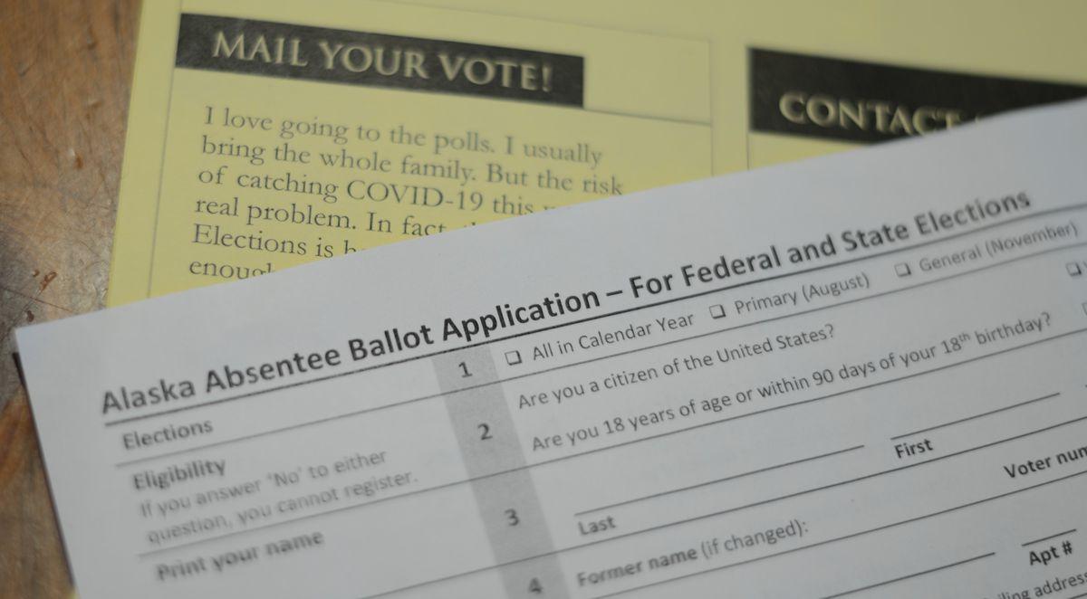A copy of Alaska's paper absentee ballot application is seen Wednesday, July 22, 2020. (James Brooks / ADN)