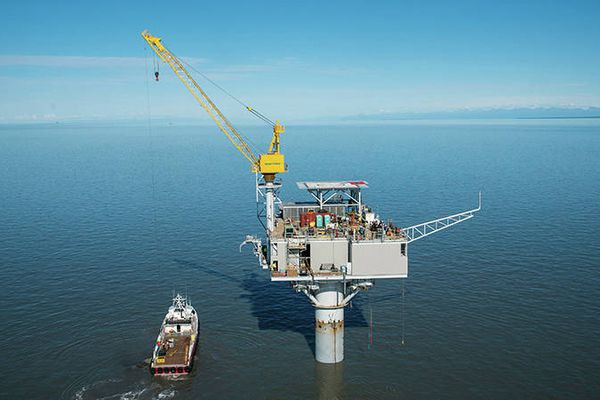 Furie Operating Alaska's Julius R Platform, installed in 2015 in Cook Inlet. Furie has had production shortfalls through the winter and hasn't been meeting its contracted supply agreements with Enstar Natural Gas Co. and the Homer Electric Association. (Courtesy Furie Operating Alaska)
