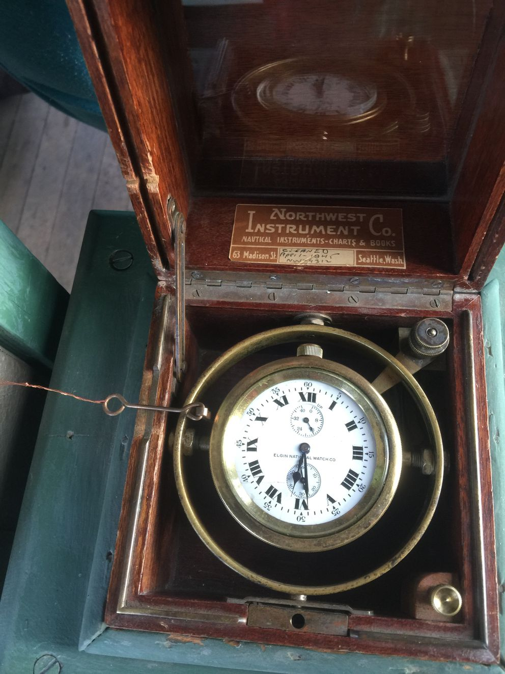 One of the two antique hand-wound clocks that time the Nenana Ice Classic. The photo was taken one day before breakup. (Dermot Cole / Alaska Dispatch News)