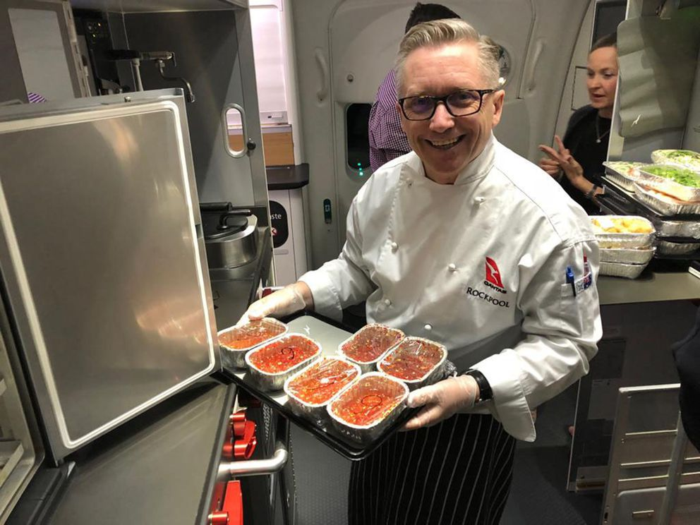 A Qantas chef prepares the passengers' meals. (Angus Whitley/Bloomberg)