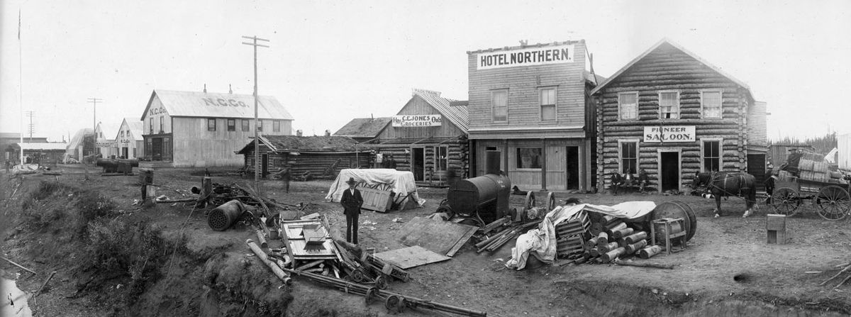 Alaska's then-largest town of Fairbanks, population 8,000, on Aug. 3, 1904, a few weeks before a magnitude 7.3 earthquake shook the buildings. (Lorenzo E. Robinson / from the R.C. Force Papers, 1900-1910, UAF Rasmuson Library)