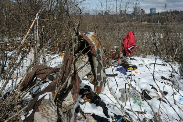 Items hang in the brush at a homeless camp near Minnesota Drive on Tuesday, April 23, 2019. (Bill Roth / ADN)