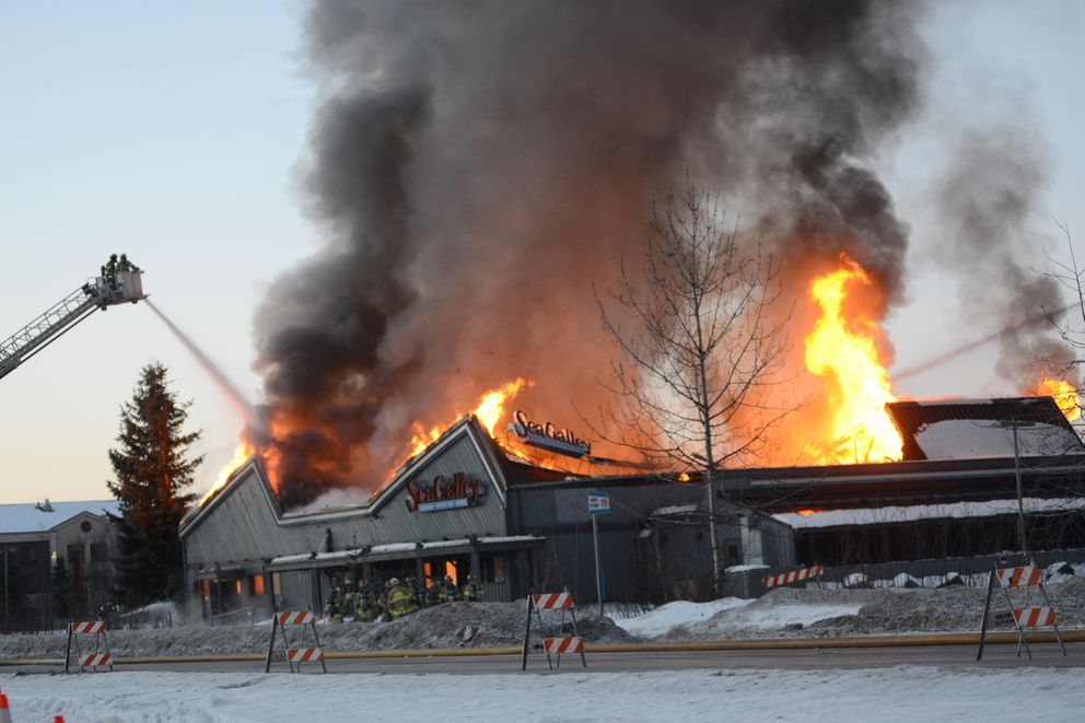 The former Sea Galley restaurant burns Jan. 3, 2019. (Anne Raup / ADN archive)