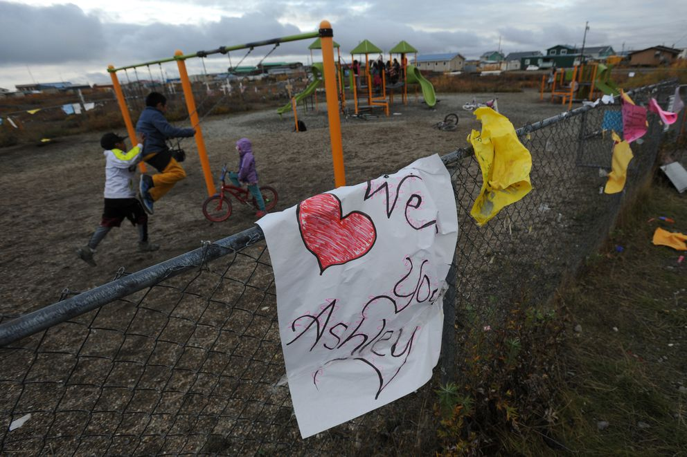 Children play in Rainbow Park in Kotzebue on Sept. 17, 2018. The park was the last place Ashley Johnson-Barr, 10, was seen alive. (Bill Roth / ADN file)