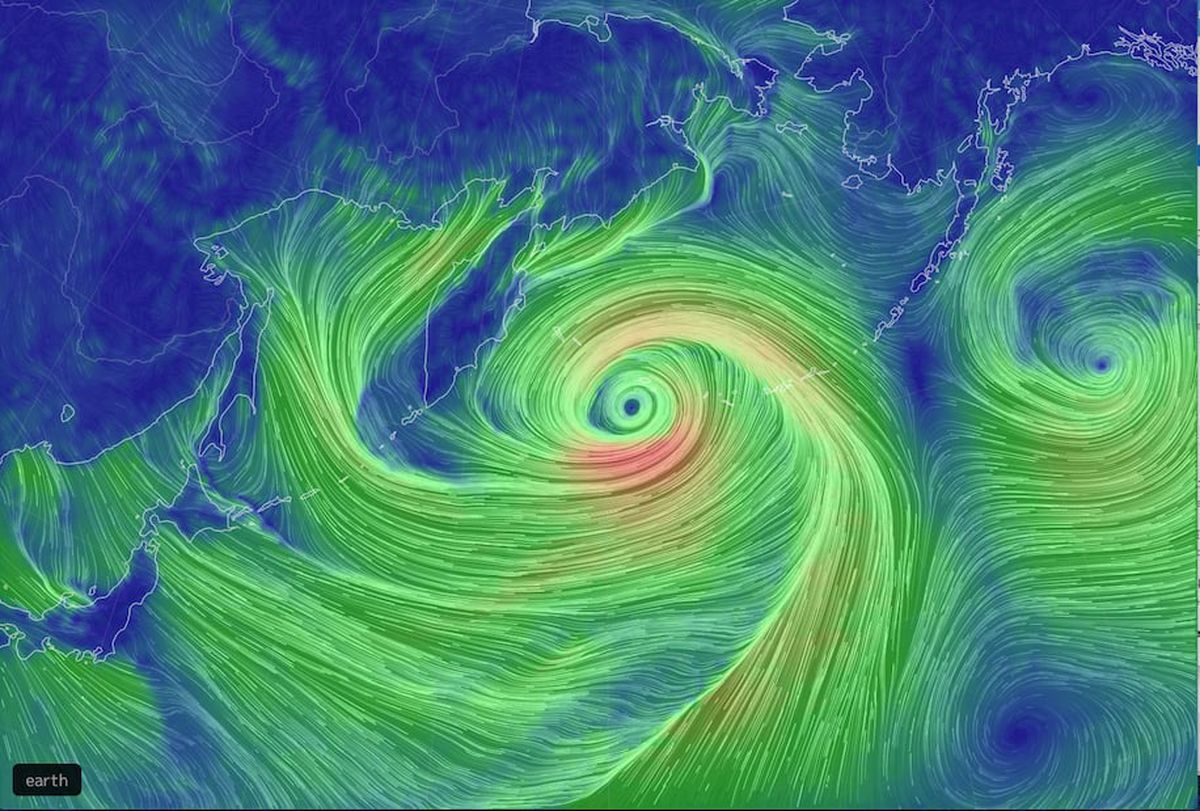 Computer model view of the Pacific storm, showing wind direction and speed. (Earth.nullschool.net)