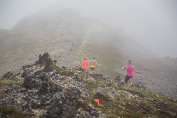 With their destination in the clouds, runners head to Alyeska's Headwall in the inaugural Alyeska Cirque Series race Saturday in Girdwood. (Photo courtesy of the Ophira Group)