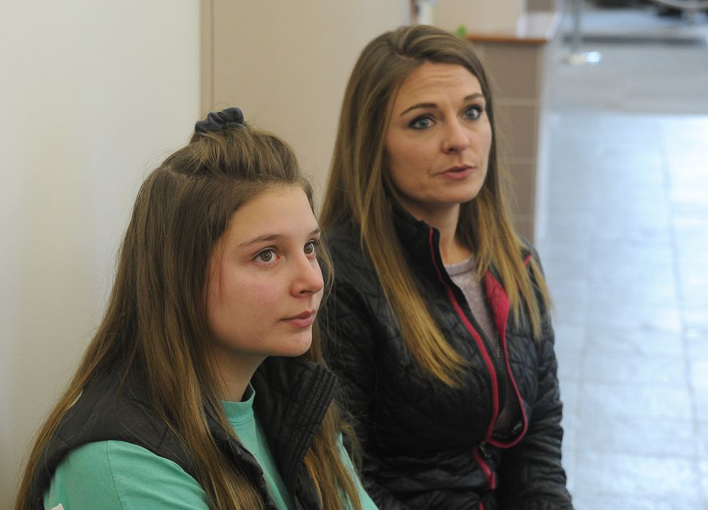 Maddy Turnbull and her mother Lorie Turnbull talk to the media after Lukis Nighswonger was arraigned on additional charges in Palmer on Tuesday. Maddy Turnbull is one of Nighswonger's victims. (Bob Hallinen / ADN)