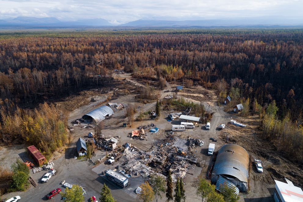 Camp Caswell, a former grocery and general store that hasn't been in operation for several years, sits destroyed on the Parks Highway on Wednesday, Sept. 4, 2019. (Loren Holmes / ADN)