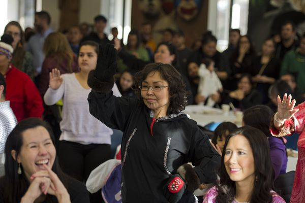Yaari Walker dances at the event. Several hundred people filled a commons area at Alaska Pacific University's Atwood Center at lunchtime on Monday, Oct. 9, 2017, to celebrate Indigenous Peoples Day. (Marc Lester / Alaska Dispatch News)
