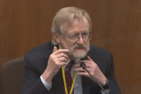 In this image from video, Dr. Martin Tobin testifies as Hennepin County Judge Peter Cahill presides Thursday, April 8, 2021, in the trial of former Minneapolis police Officer Derek Chauvin at the Hennepin County Courthouse in Minneapolis, Minn. Chauvin is charged in the May 25, 2020 death of George Floyd. (Court TV via AP, Pool)