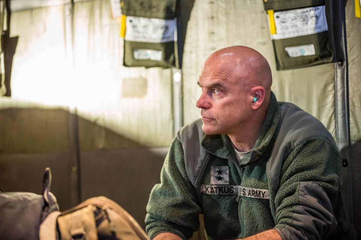 Maj. General Tom Katkus on board a C-130 en route to Venetie during Operation Santa on December 1, 2012.