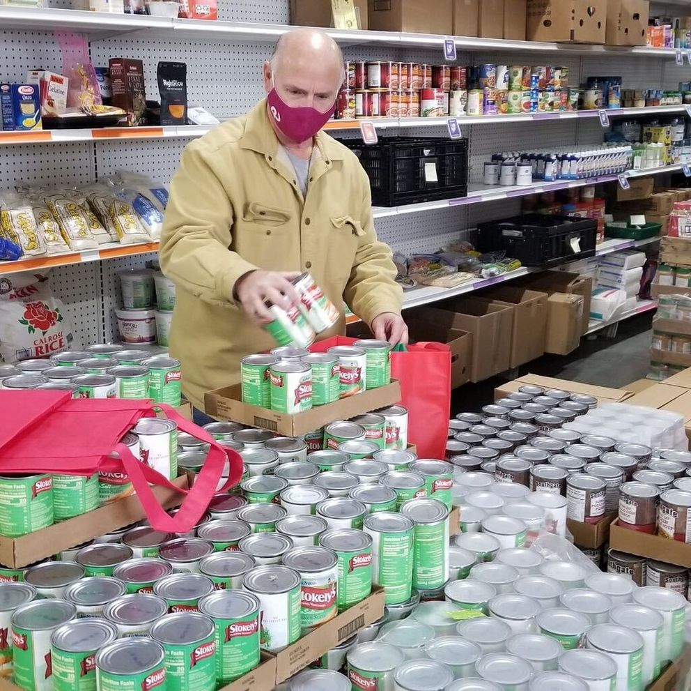 Soldotna resident Dennis Alder has been out of work since March 2020. He spends some of his time volunteering for the Kenai Peninsula Food Bank. (Photo by Greg Meyer)