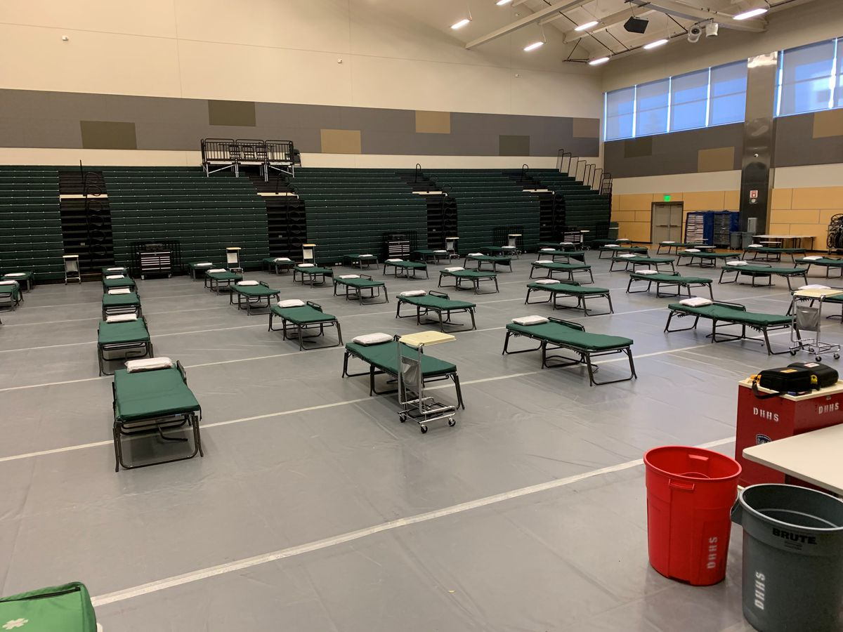Beds set up at the Alaska Airlines Center. The Municipality of Anchorage has set up a medical alternate care site at the center in case hospitals are overwhelmed COVID-19 pandemic. (Photo courtesy the Municipality of Anchorage)