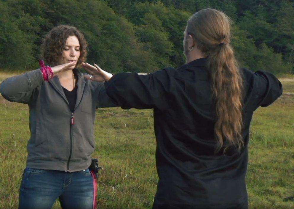 Noah teaches tai chi to his date Rhain. (Screen capture via Discovery.com)