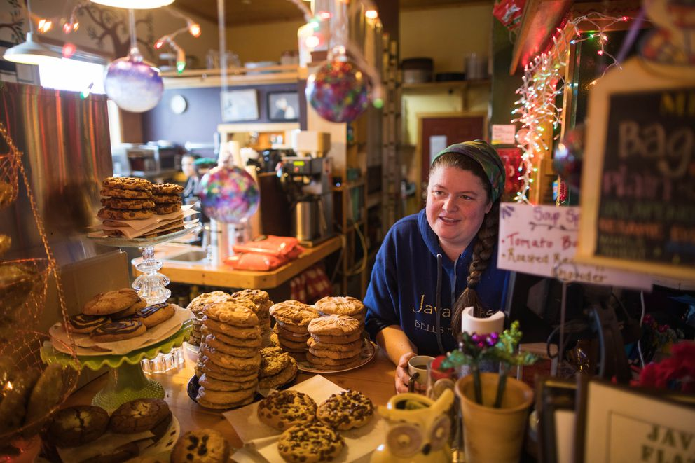Alicia Short-McEwan, owner of Java Flats, takes a break from working in the kitchen on Thursday, Jan. 24, 2019. (Loren Holmes / ADN)
