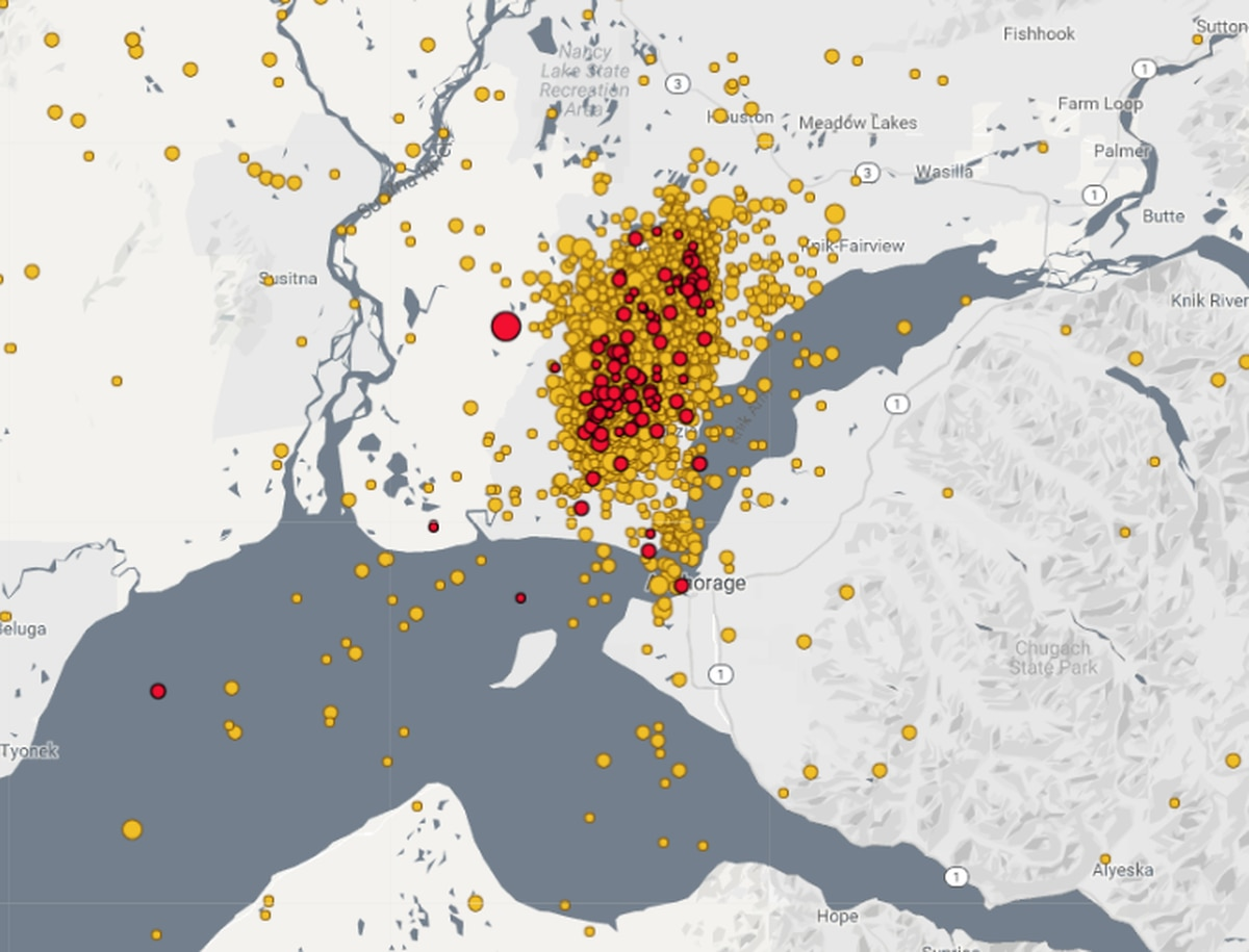 A look at the aftershocks from the Nov. 30 earthquake as of Sunday evening. The larger red dot shows the automatic location of the 4.2 aftershock that rattled Anchorage and Mat-Su on Sunday. (Screengrab of Alaska Earthquake Center website)
