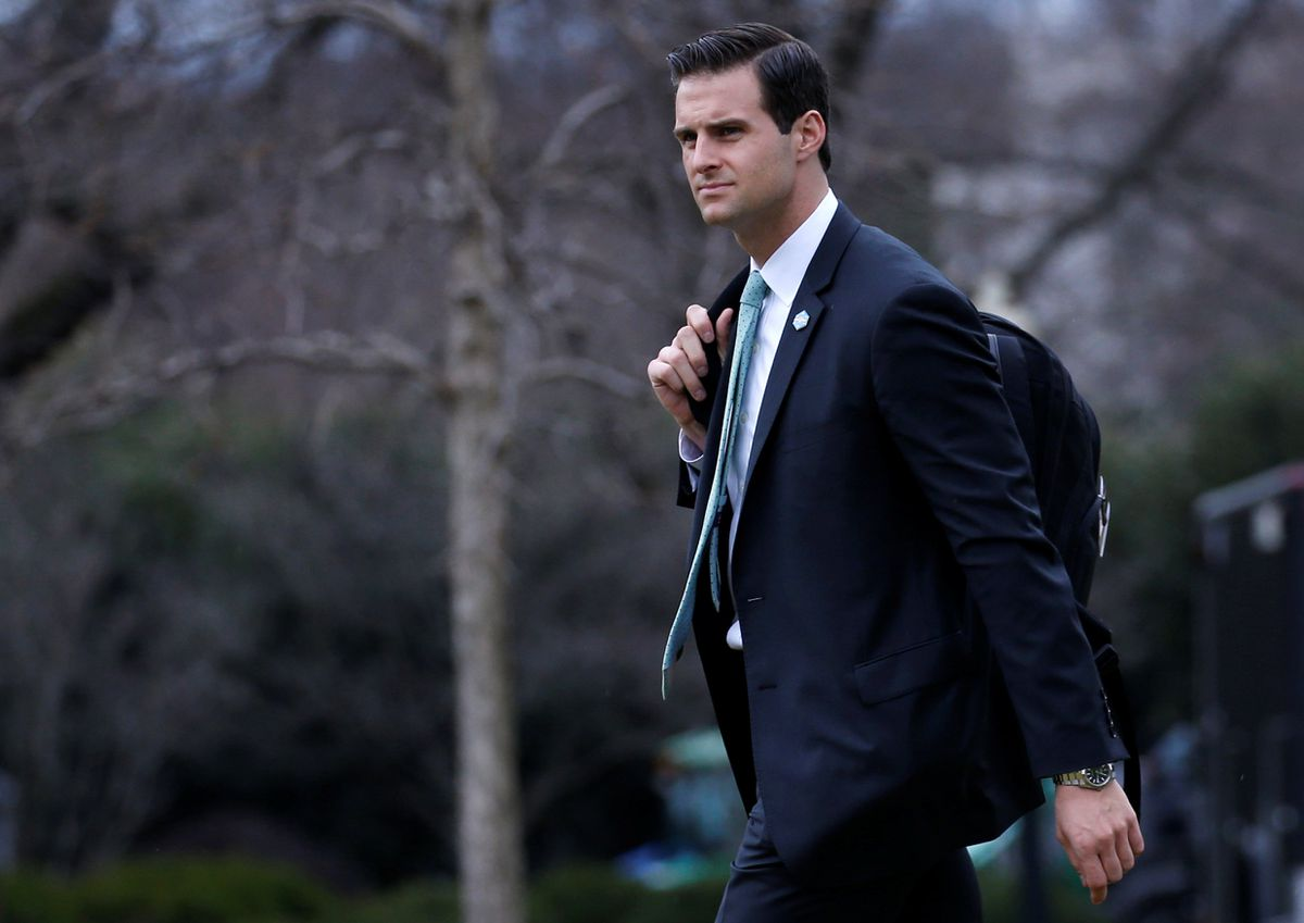 John McEntee walks to Marine One to join President Donald Trump for travel to Florida February 16, 2018. REUTERS/Leah Millis