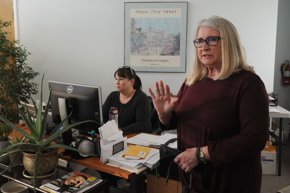 Vicki Jorgensen, owner of Community Payee Services in Spenard, right, and her daughter Esa Jorgensen are representative payees for Social Security beneficiaries. Photographed Tuesday. (Bill Roth / ADN)