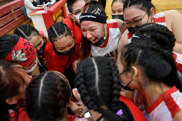 Chevak huddles together before the opening tipoff. Chevak beat Tok in the first round of the girls 2A state basketball championship tournament at Wasilla High School on April 1, 2021. (Marc Lester / ADN)