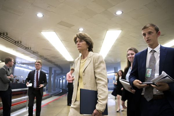 """Sen. Lisa Murkowski (R-Alaska) in Washington, July 26, 2017. Murkowski was one of seven Republicans who on Wednesday rejected a measure repealing major parts of the Affordable Care Act without replacement; the 45-55 defeat signaled that a """"clean repeal"""" bill cannot get through Congress. (Tom Brenner/The New York Times)"""