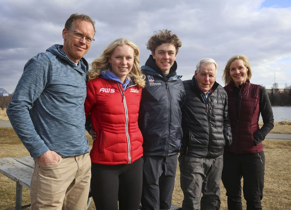 From left, Kevin Donley, Quincy Donley, Finnigan Donley, Eberhard Brunner and Shannon Donley at Westchester Lagoon in Anchorage on Wednesday, May 5, 2021. (Emily Mesner / ADN)