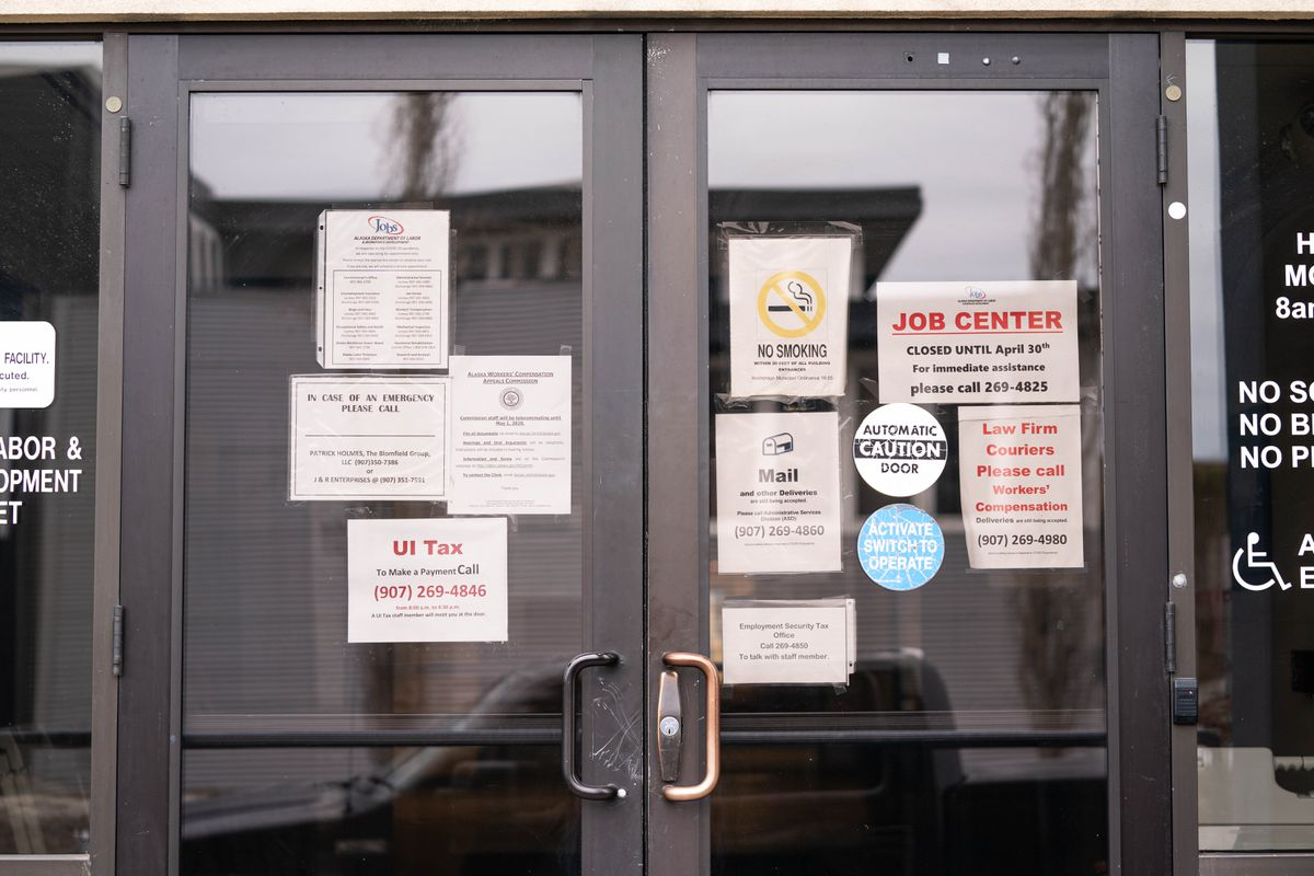 The Alaska Department of Labor and Workforce Development office in Midtown Anchorage on April 15. The building houses the Job Center, which provides services to out-of-work Alaskans. (Loren Holmes / ADN)