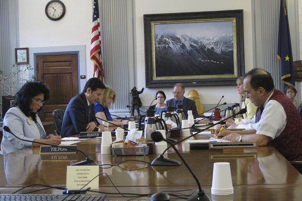 Alaska House and Senate negotiators meet for a conference committee on the state operating budget on Monday, May 13, 2019, in Juneau, Alaska. The Alaska Legislature is trying to finish its work with a deadline for doing so looming. (AP Photo/Becky Bohrer)