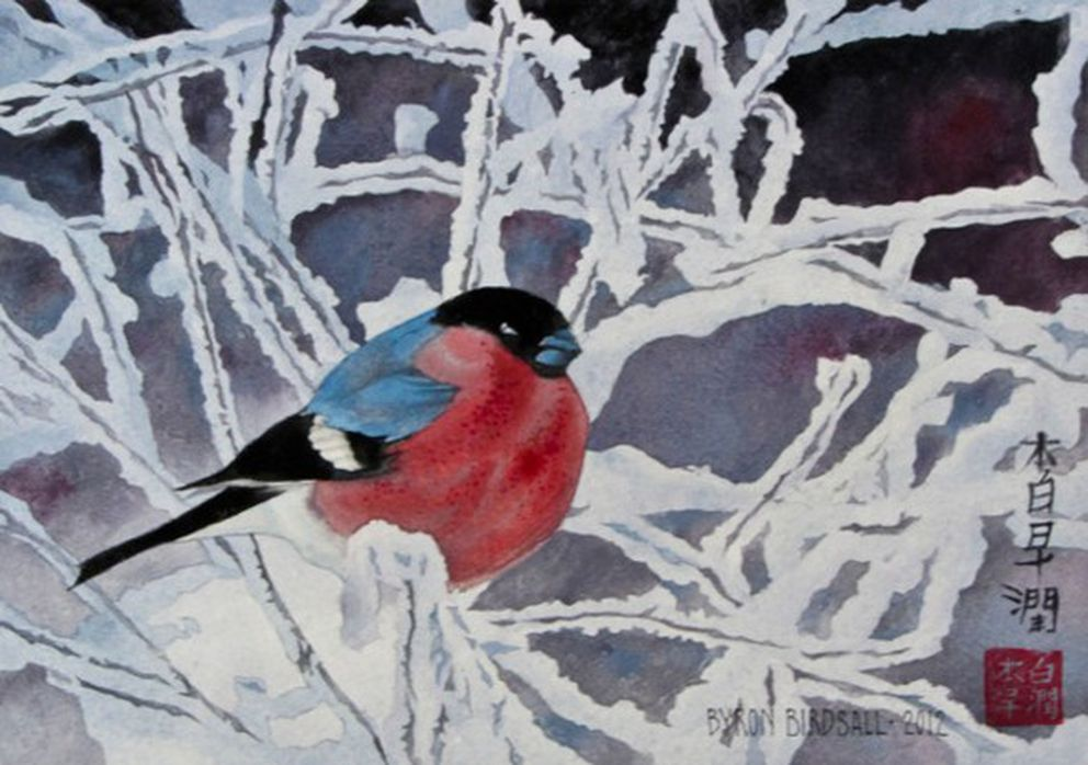 """A bird in a (snowy) cage,"" by Byron Birdsall. Courtesy Artique Ltd."