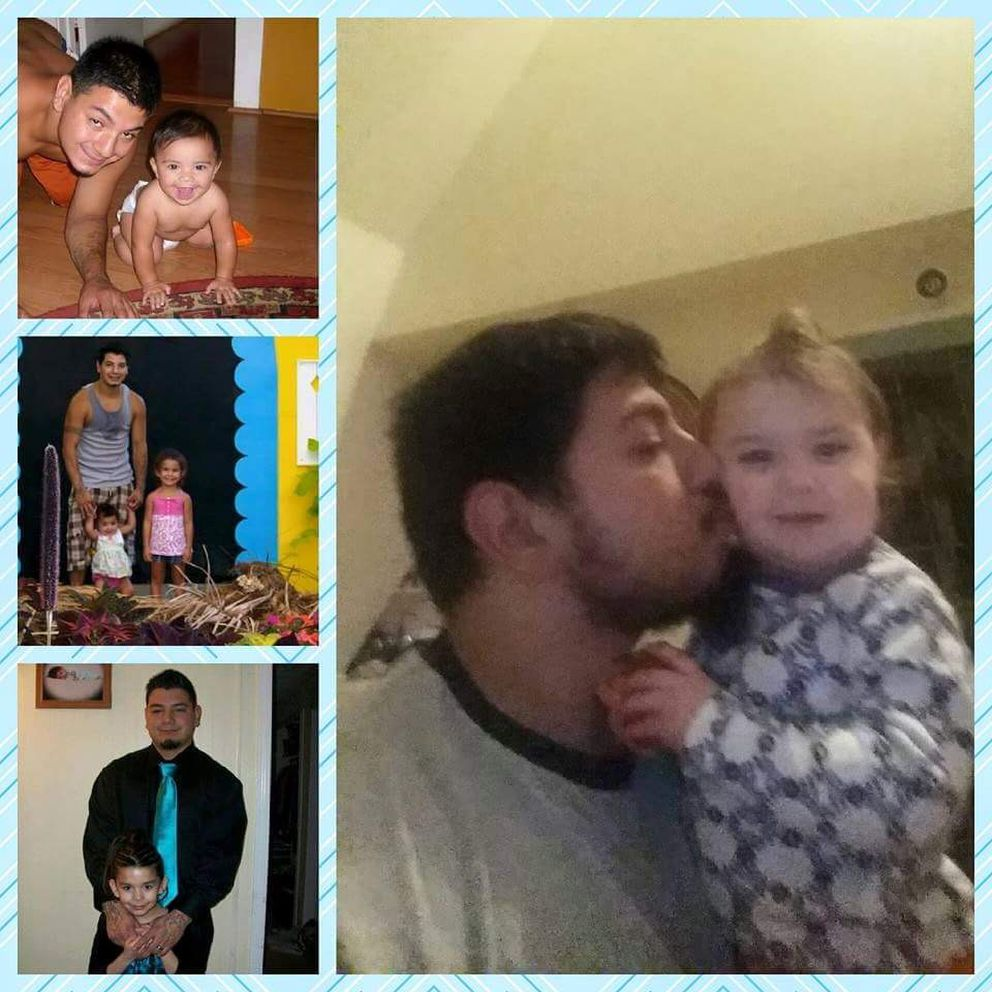 Jimmy Flores, who lost his five daughters in a fire Sept. 7, 2017, is shown here in family snapshots with the girls. In the biggest picture, he is with the youngest, Jaelynn, who was 3 when she died. (Courtesy Susan Secco)