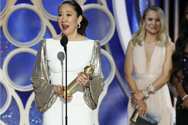This image released by NBC shows Sandra Oh accepting the award for best actress in a drama series for her role in