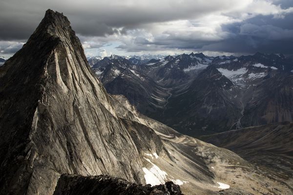 The west face of Talliktok remains unclimbed, after an attempt by Zach Clanton, Tim Plotke and James Gustafson this summer. Photo taken from the previously unclimbed summit of Uyuraq Peak.