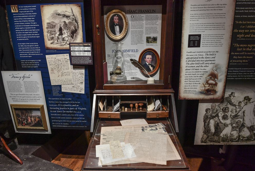 An exhibit of business items belonging to Franklin and Armfield at the Freedom House Museum in 2017. (Washington Post photo by Ricky Carioti)